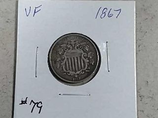 1867 Shield Nickel VF