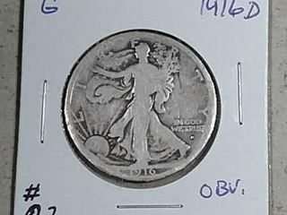 1916 D Obv  Walking liberty Half Dollar G