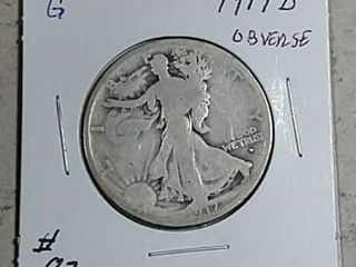 1917 D Obv  Walking liberty Half Dollar G