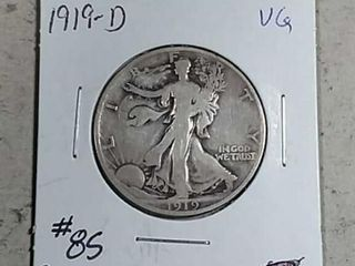 1919 D Walking liberty Half Dollar VG