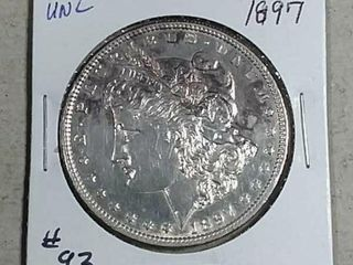 1897 Morgan Dollar Unc    details cleaned