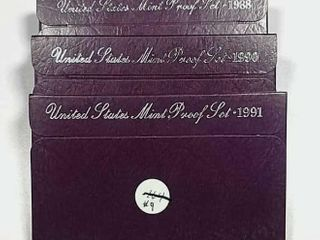 1988  1990   1991 US  Mint Proof sets