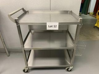 Stainless Steel 3 Shelf Cart on Casters