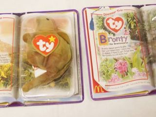 lot of 2  Happy Meal  Collectible Ty Original Beanie Babies    Steg and Bronty  in Original Packaging