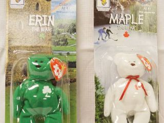 Collectible Ty  McDonald s Happy Meal  Beanie Babies  ERIN  the Bear  and MAPlE  the Bear  Still in Original Packaging