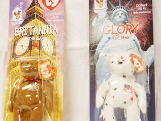 Collectible Ty  McDonald s Happy Meal  Beanie Babies  BRITANNIA  the Bear  and GlORY  the Bear  Still in Original Packaging