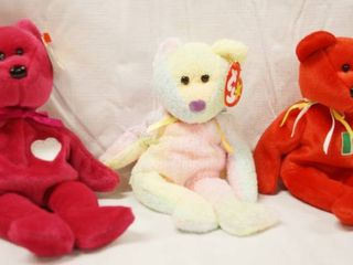 lot of 3 Collectible Original Ty Beanie Babies   Valentina  Groovy  and Osito  w  Original Tags