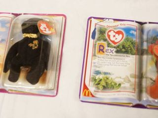 lot of 2  Happy Meal  Collectible Ty Original Beanie Babies   The End and Rex  in Original Packaging