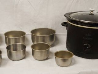 Stoneware Slow Cooker and lot of sm Metal Pans