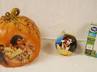 Elvis Presley Collectible Pumpkin  Taken Care of Halloween   Bradford Exchange  and Elvis Presley Ornament  and light Bulb