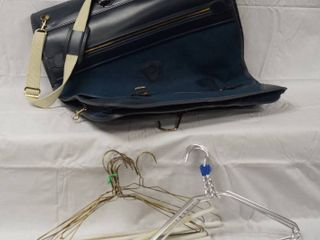 Blue Carrying Clothes Traveling Bag w  a lot of Wire Hangers