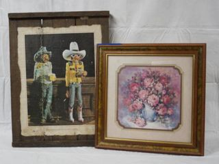 Very Nice Wood Picture  I See By Your Outfit That You Are A Cowboy  and A Very Nice Frame Flower Picture  J  Crainer