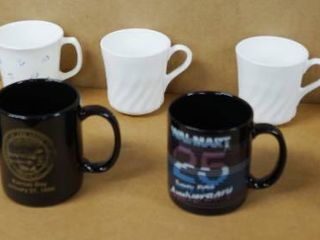 lot of 9 Coffee Cups   Boeing Military  Kansas Day  First Baptist Church  and 4 White Coffee Cups