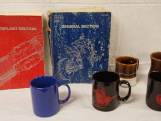 Power Plant Section Book  General Section Book  lot of 5 Coffee Cups  2 of them are Marlboro
