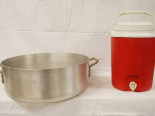 large Cooking Pot  approx  17 1 2  Wide X 6 1 2  Deep and a Gott Beverage Cooler  1526