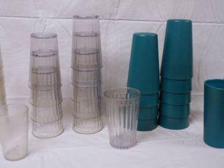 lot of 36 Plastic Drinking Glasses