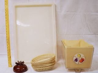 lot of 4 Trays  and Brown Vintage Telephone Insulator  Plastic Restaurant Baskets  etc