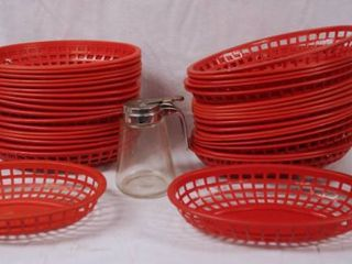 lot of Plastic Food Baskets and lot of 3 Syrup Servers