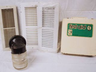 lot of 3 Vent Covers  Out Door light and Metal First Aid Box