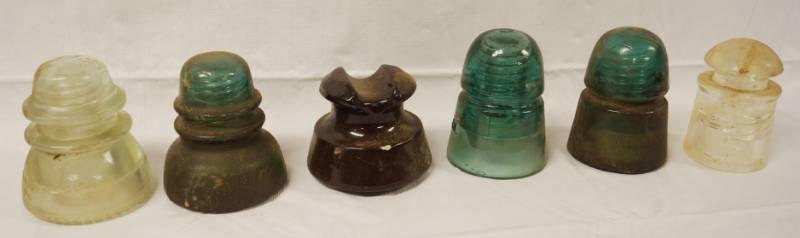lot of 6 Vintage Telephone Insulators