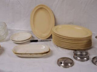 lot of Plastic Oval Plates and Glasses Bowls    More