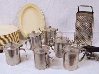 lot of Oval Plastic Plates  Syrup  Creamer Server Containers  and More