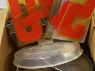 lot of lids and Alphabet  Numbers for a Outdoor Sign