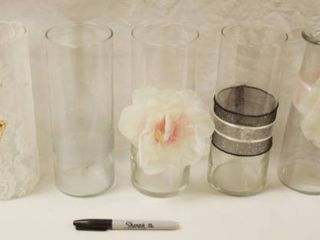 lot of 7 Vases   Misc  Great Decor for Partys  Weddings    Graduations  etc