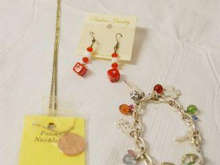 Genuine Penny Necklace   24  Chain  Dice Earrings    Bracelet