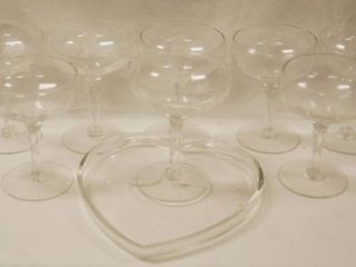 lot of 7 Wine Glasses  and a Glass Heart Candy Dish