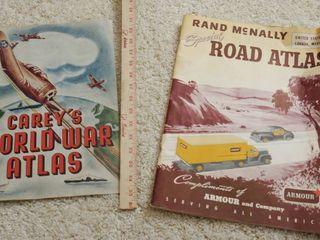 lot of 2 Vintage World Atlas Books CAREY S SAlT WORlD WAS ATlAS   Rand McNally Atlas