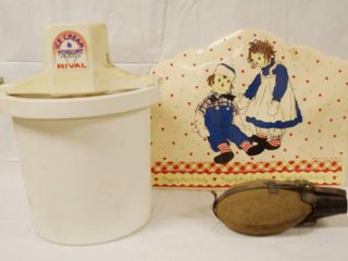 Rival Ice Cream Maker  2 Raggedy Ann and Andy 1998 Placemats and Vintage Canteen