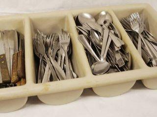 lot of Silverware w  Plastic Container