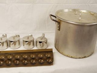 lot of Syrup Containers  Egg Tray  and large Cooking Pot w  lid