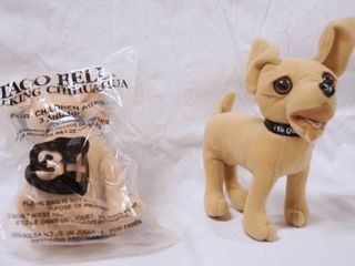 lot of 2 Collectible Taco Bell Stuff Dogs   Applause  with Original Packaging