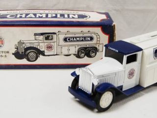 1930 Diamond T Fuel Tanker  CHAMPlIN  Collector Series No  1  with locking Coin Bank  w  Key   Die Cast Metal