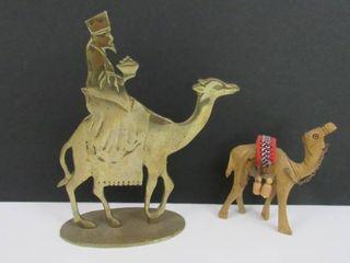 Dept 56 brass camel   small wooden camel