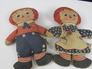 2 kinderbocker raggedy Ann and Andy stuffed dolls