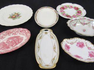 lot of 2 decorative china plates  5 porcelain oblong bowls