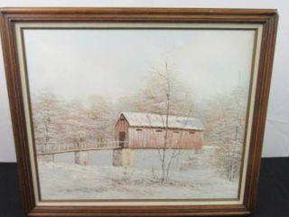 Hanging wall painting  Winter walkway across bridge  23 1 2 in H X 27 1 2 in W