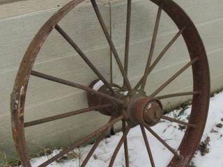 Antique metal farm wheel   36in Dia   Great Yard Decor