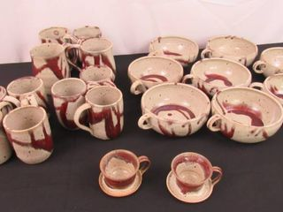 lot of matching pottery  4 large mugs  7 small mugs  2 teacups and 8 chili soup bowls