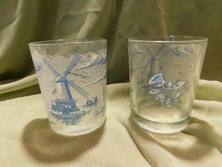 Blue Windmill Beverage Glasses  2 ea