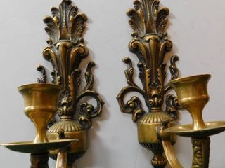 Brass Wall Mount Taper Holders  Pair