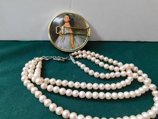 Compact Mirror   Pearl Necklace