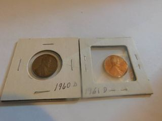 Two  2  lincoln Wheat Penny s