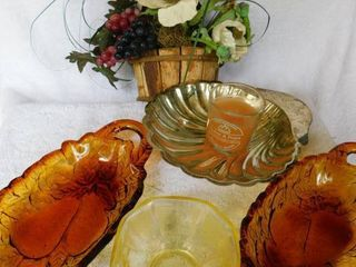lot of Vintage Tableware Serving Pieces and Floral Decor