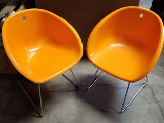 Plata Import Bucket Chairs w  Metal legs   Set of 2
