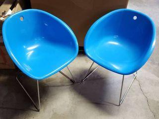 TCBY Bucket Chairs w  Metal legs   Set of 2