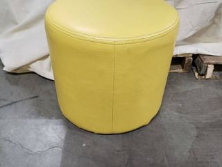 TCBY Solid Faux leather Oval Ottoman